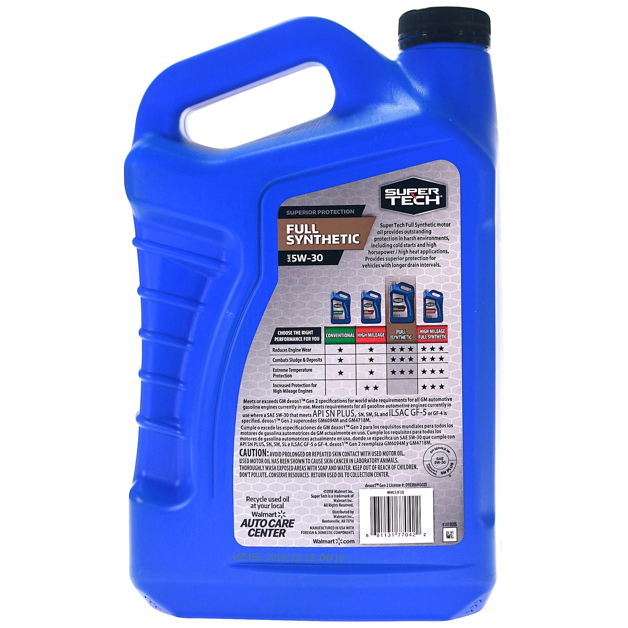 Super Tech Full Synthetic SAE 5W-30 Motor Oil, 5 Quarts