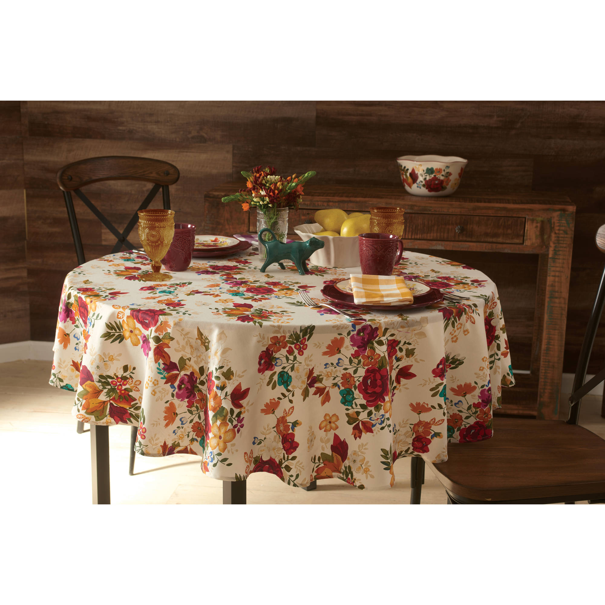 "Pioneer Woman Timeless Floral Tablecloth, 70"" Round"