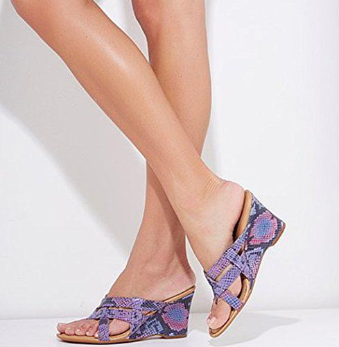 "Born Crown Series ""Brescia"" Leather 9B Wedge Sandal Purple/Pink Snake 9B Leather (M) US b2a50f"
