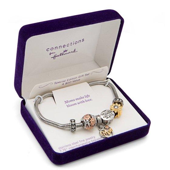 Hallmark Charm Bracelet: Stainless Steel Tri-Color Mom
