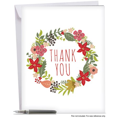 J6653AXTB Jumbo Merry Christmas Card: 'Watercolor Wreaths Thank You' Featuring Bright and Cheery Floral Wreaths Filled with Colorful Blooms Greeting Card with Envelope by The Best Card (Bold And The Beautiful 11 6 17)