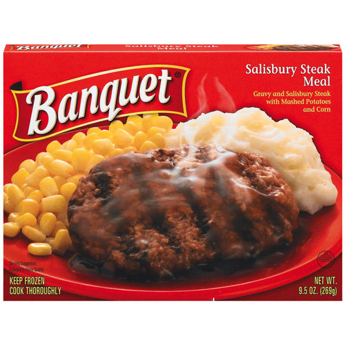 Banquet: Gravy And Salisbury Steak w/Mashed Potatoes And Corn Meal, 9.5 Oz