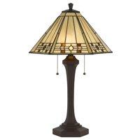 "Cal Lighting BO-2676TB Matte Black Tiffany 2 Light 26"" Tall Table Lamp"