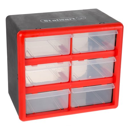 Storage Drawers- 6 Compartment Organizer Desktop or Wall Mountable Container for Hardware, Parts, Craft Supplies, Beads, Jewelry, and More by Stalwart (Online Craft Stores)