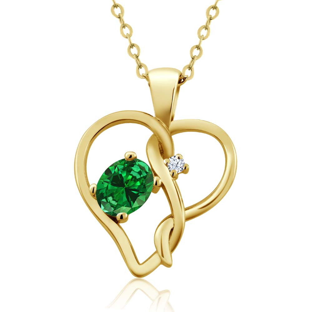 "0.69 Ct Oval Green Simulated Emerald 14K Yellow Gold Pendant With 18"" Chain"