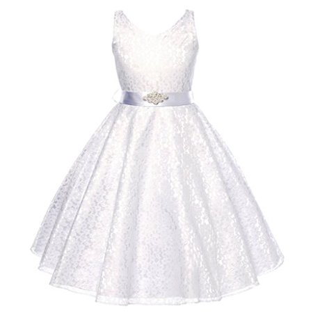 Lovely Lace V-Neck Flower Girl Dress for Little Girl White 8 - Flower Girl Blue Dress