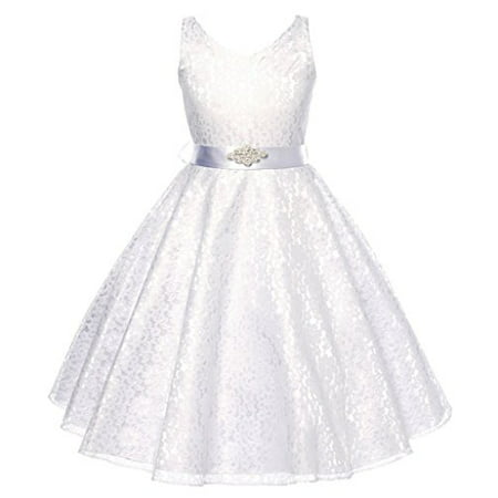 Lovely Lace V-Neck Flower Girl Dress for Little Girl White 8 G35.11G - Dress For Girl