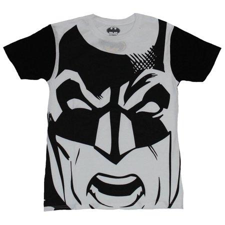 Batman (DC Comics) Mens T-Shirt - Giant Black and White Batman Face Image Mens White Blank T-shirt