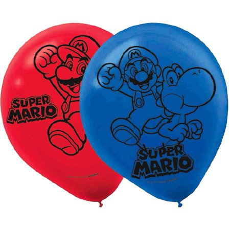 Super Mario Brothers Printed Latex Balloons [6 pack] for $<!---->