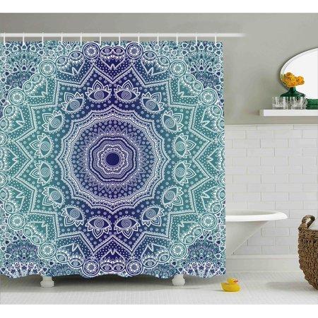 Navy And Teal Shower Curtain Cosmic Diagram Art Mandala Circle