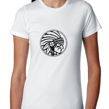 Native American Indian Iconic Chief Graphic Design Women's Cotton T-Shirt (Native American Clothing Women)