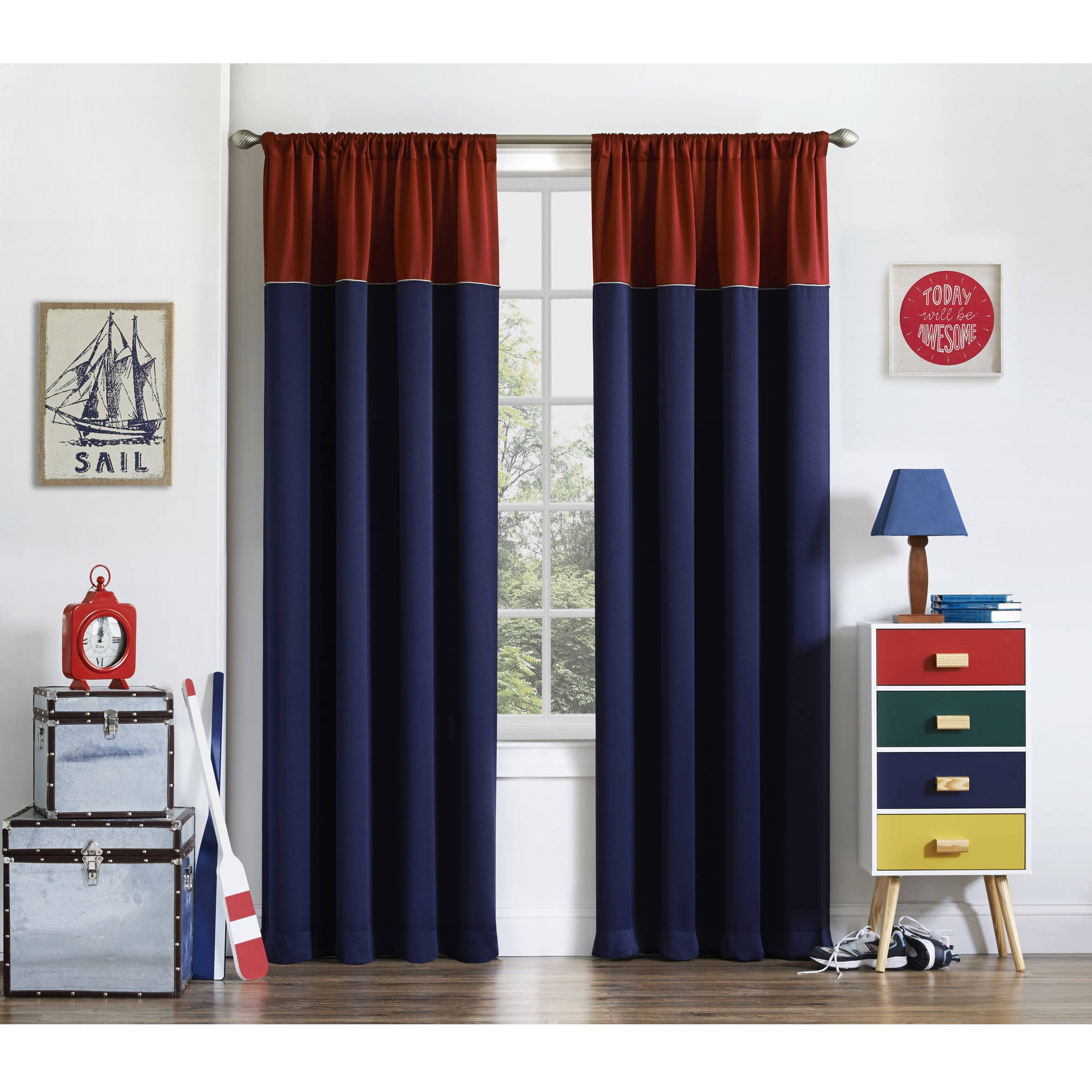 Bedroom Curtains Walmart: Eclipse Luna Room Darkening Kids Bedroom Curtain