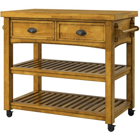 Weston Home Wood Farmhouse Buffet Kitchen Cart with Casters, Multiple