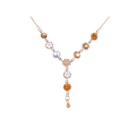 Gold-Tone Metal Alloy Topaz Crystal Rhinestone Dainty Flowers Y-Shaped Necklace