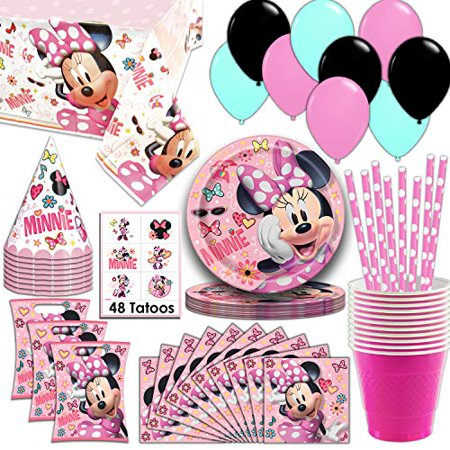 Minnie Mouse Party Supplies, Serves 16 - Plates, Napkins, Tablecloth, Cups, Straws, Balloons, Loot Bags, Tattoos, Birthday Hats - Full Tableware, Decorations, Favors for - Sweet 16 Plates And Napkins