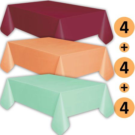 12 Plastic Tablecloths - Burgundy, Peach, Mint - Premium Thickness Disposable Table Cover, 108 x 54 Inch, 4 Each Color
