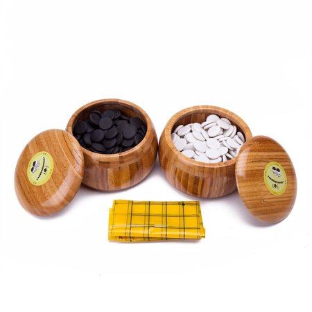 - Melamine Single Convex Stones and Bamboo Bowls Go Game Set Wei Qi