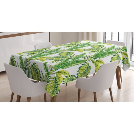 Jungle Themed Table Covers (Jungle Tablecloth, Bamboo Palm Plants Jungle Colored Exotic Leaf Foliage Tropical Forest Theme, Rectangular Table Cover for Dining Room Kitchen, 52 X 70 Inches, Lime and Fern Green, by)