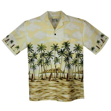 Diamond Head Yellow Border Hawaiian Shirt ()