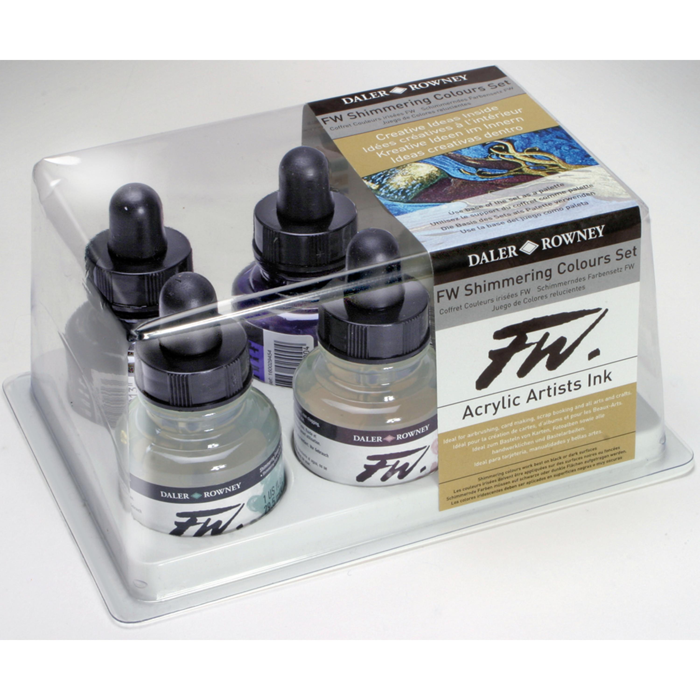 Daler-Rowney FW Acrylic Artists Ink Set, Shimmering Colors Set