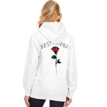 711ONLINESTORE Women BEST FRIEND Rose Flower Pullover Hoodies