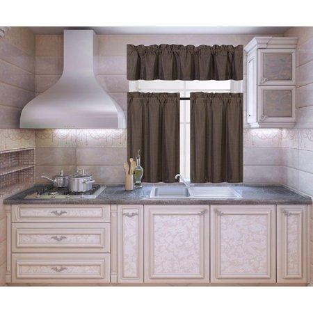 K3 Brown 3-Piece Blackout Rod Pocket Kitchen Window Curtain Set Darkening Tier Panels Treatment with Matching Valance ()