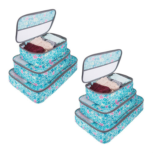 Travelon Set of 3 Packing CubesSummer Floral (2-Pack) Set of 3 Packing Cubes