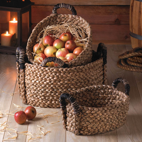 Zingz & Thingz Rustic Woven 3 Piece Nesting Basket Set