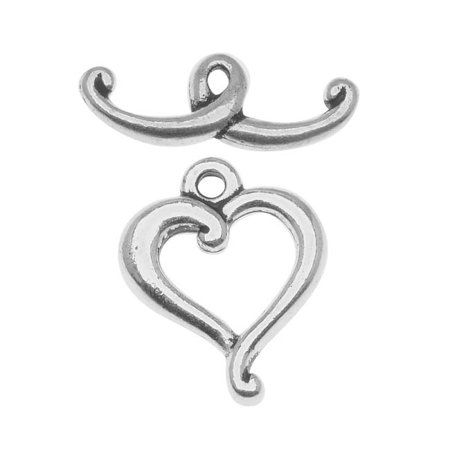 Silver Plated Pewter Scroll Heart Toggle Clasp 14mm (1) ()