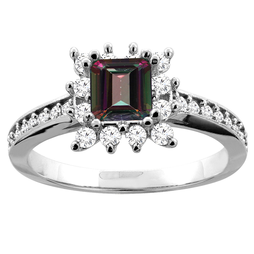 10K White Gold Natural Mystic Topaz Engagement Ring Diamond Accents Square 5mm, size 5.5