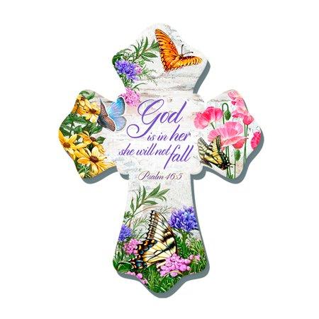 Wall Cross-Butterflies/God Is In Her She Will Not Fall (6  x 8 ) (6 Sonnenbrillen Fall)