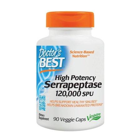 Doctor's Best High Potency Serrapeptase, Non-GMO, Gluten Free, Vegan, Supports Healthy Sinuses, 120,000 SPU, 90 Veggie Caps, High Potency.., By Doctors