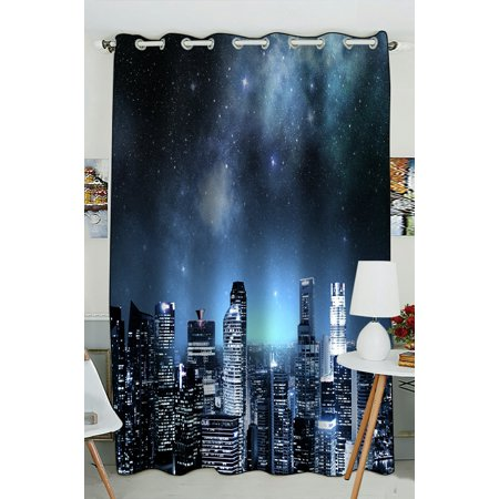Phfzk night sky window curtain city skyline under a Blackout curtains city skyline