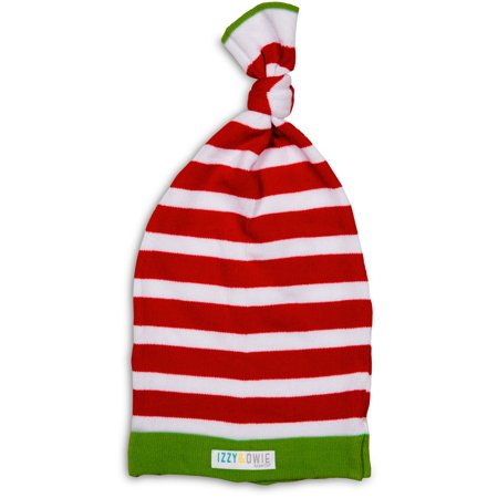 Izzy & Owie - 0-12 Month Red, White and Green Striped Christmas Baby Hat (Green Christmas Hat)