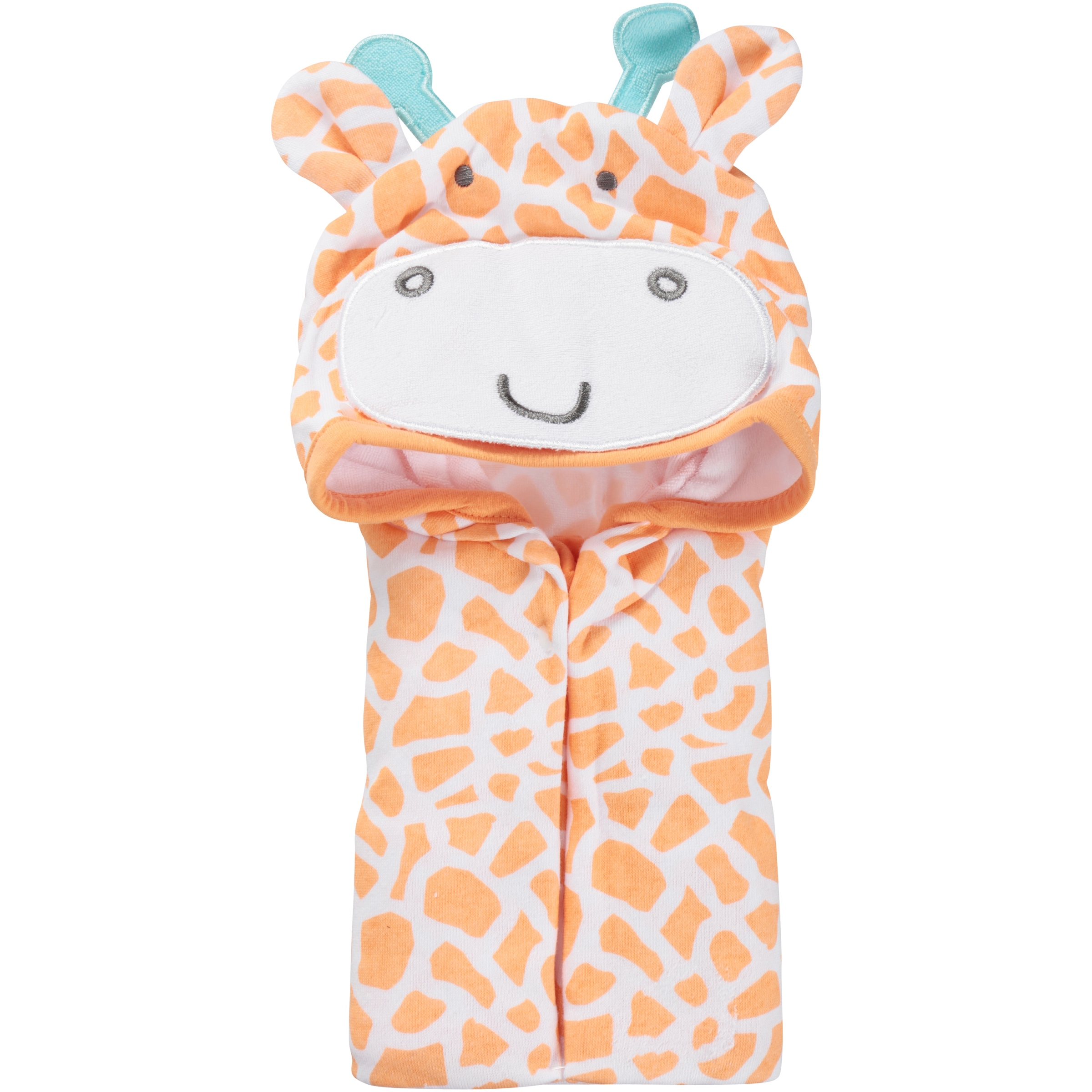 Newborn Baby Unisex Terry Hooded Bath Wrap with 3D Applique