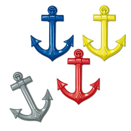 Club Pack of 24 Multi-Colored Nautical Themed Plastic Cruise Ship Anchors Party Decorations 25