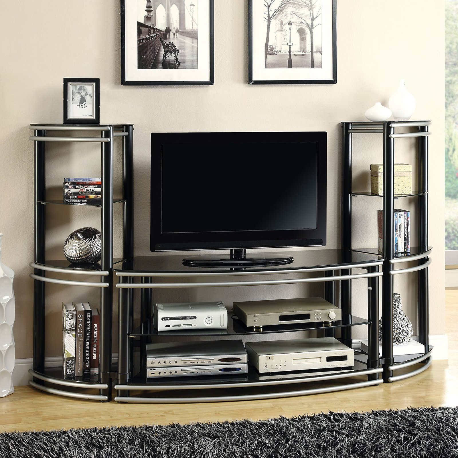 Coaster Furniture Black and Silver Curved Entertainment C...