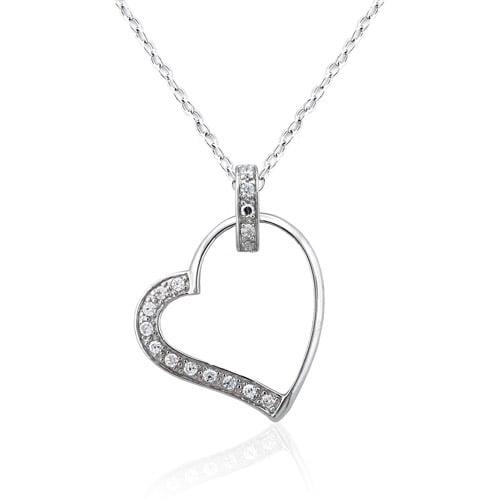 "CZ Platinum over Sterling Silver Heart Pendant, 18"""