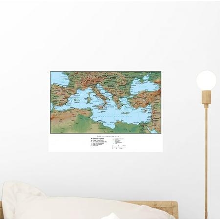 Mediterranean Mural (Map Mediterranean Europe Wall Mural by Wallmonkeys Peel and Stick Graphic (12 in W x 8 in H) WM198056)