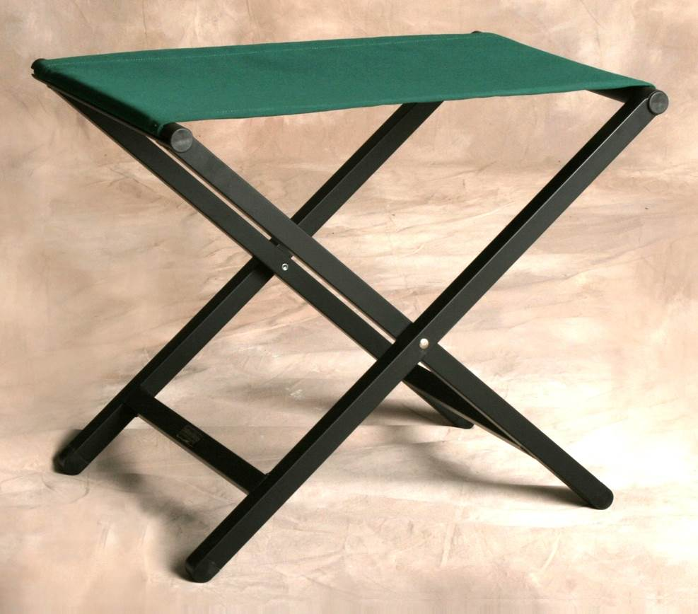 Folding Aluminum Footstool w Forest Green Fabric Top by Sutton Bridge