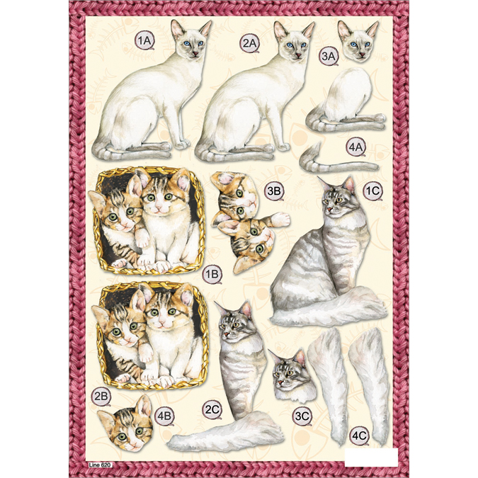 "3D Die-Cut Decoupage Sheet 8.3""X11.69""-Kittens"