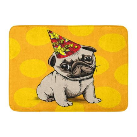GODPOK Cartoon Brown Birthday Puppy Pug in Party Hat on Yellow Dog Happy Rug Doormat Bath Mat 23.6x15.7 inch