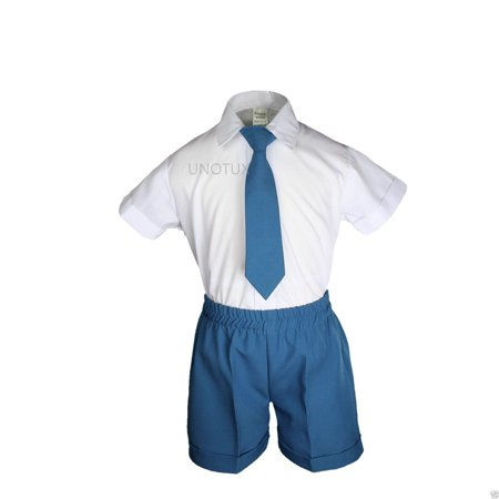 Boys Baby Toddler Formal Wedding Teal Turquoise Aqua Vest Sets Shorts Suits S-4T - image 5 of 6