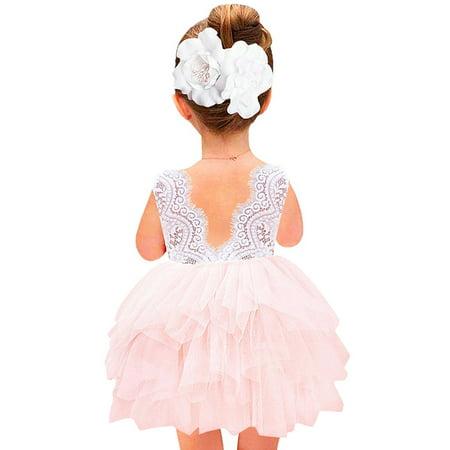 Girls Party Dress V Back Lace Tutu Dress Pink 3T - 3t Birthday Dress