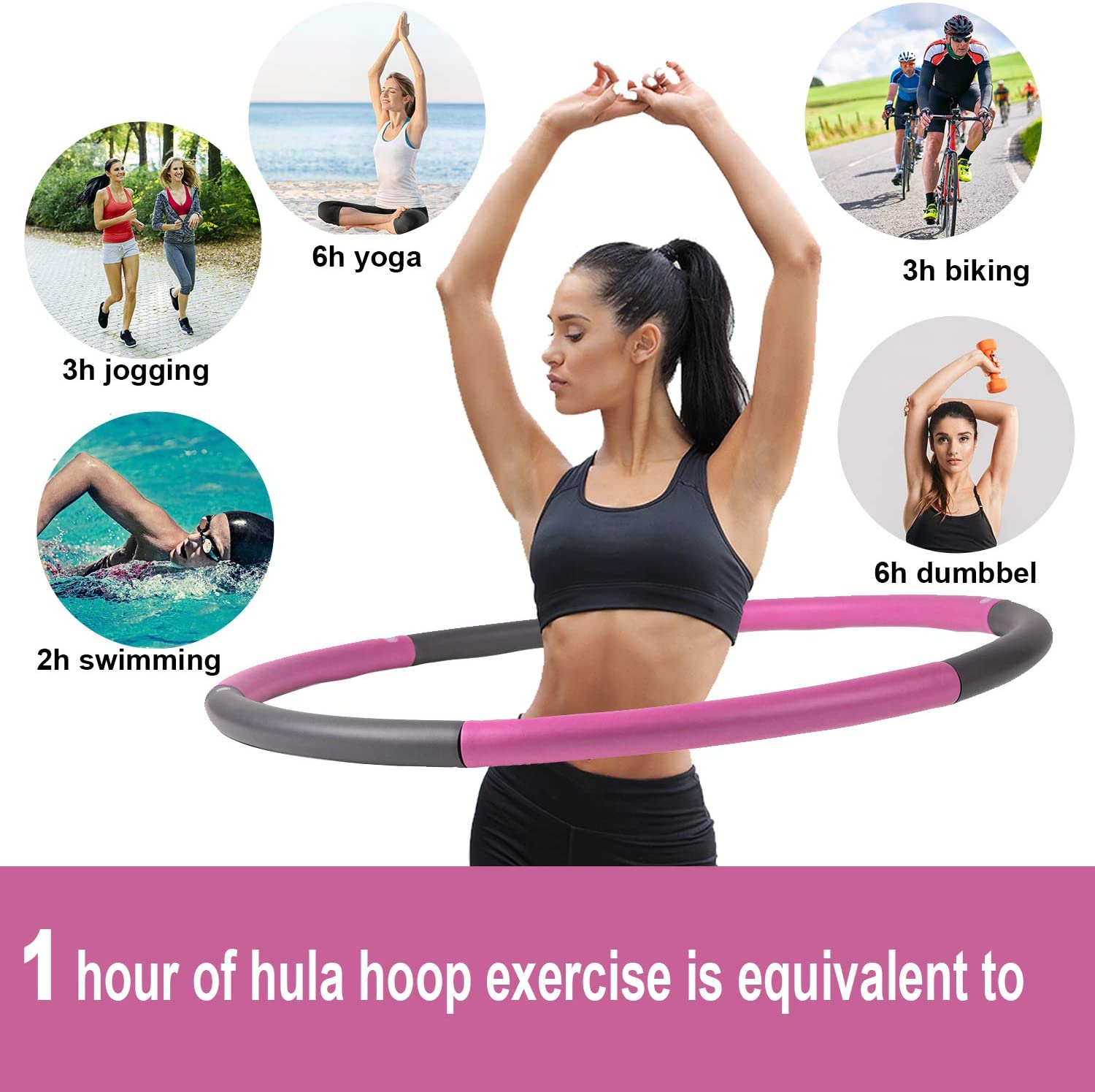 Details about  /Fitness Detachable Hula Hoop Home Exercise Lose Workout Adult Hoola USA STOCK