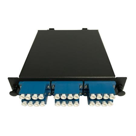 RiteAV LGX Footprint Pre-terminated MTP Cassette - MTP Male, 24 Fiber to LC Quad Singlemode Adapters, includes 12 LC Singlemode Hydra Cable (30cm, OFNR) + 2 MTP