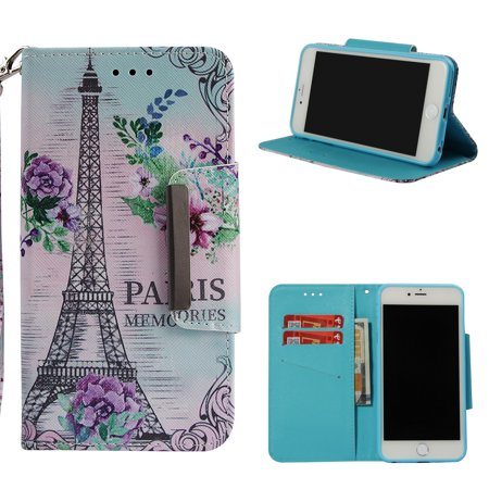 iPhone 6 Wallet Case, iPhone 6S Case, Allytech 3D Bling Crystal Rhinestone Slim PU Leather Flip Cover with Card Holder Folding Stand Protective Book Case Cover for iPhone 6/ 6S, Eiffel Tower