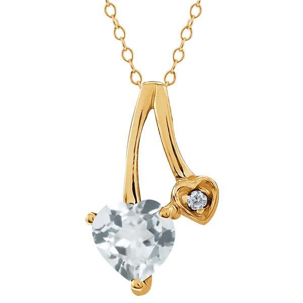 0.68 Ct Heart Shape Sky Blue Aquamarine White Diamond 14K Yellow Gold Pendant