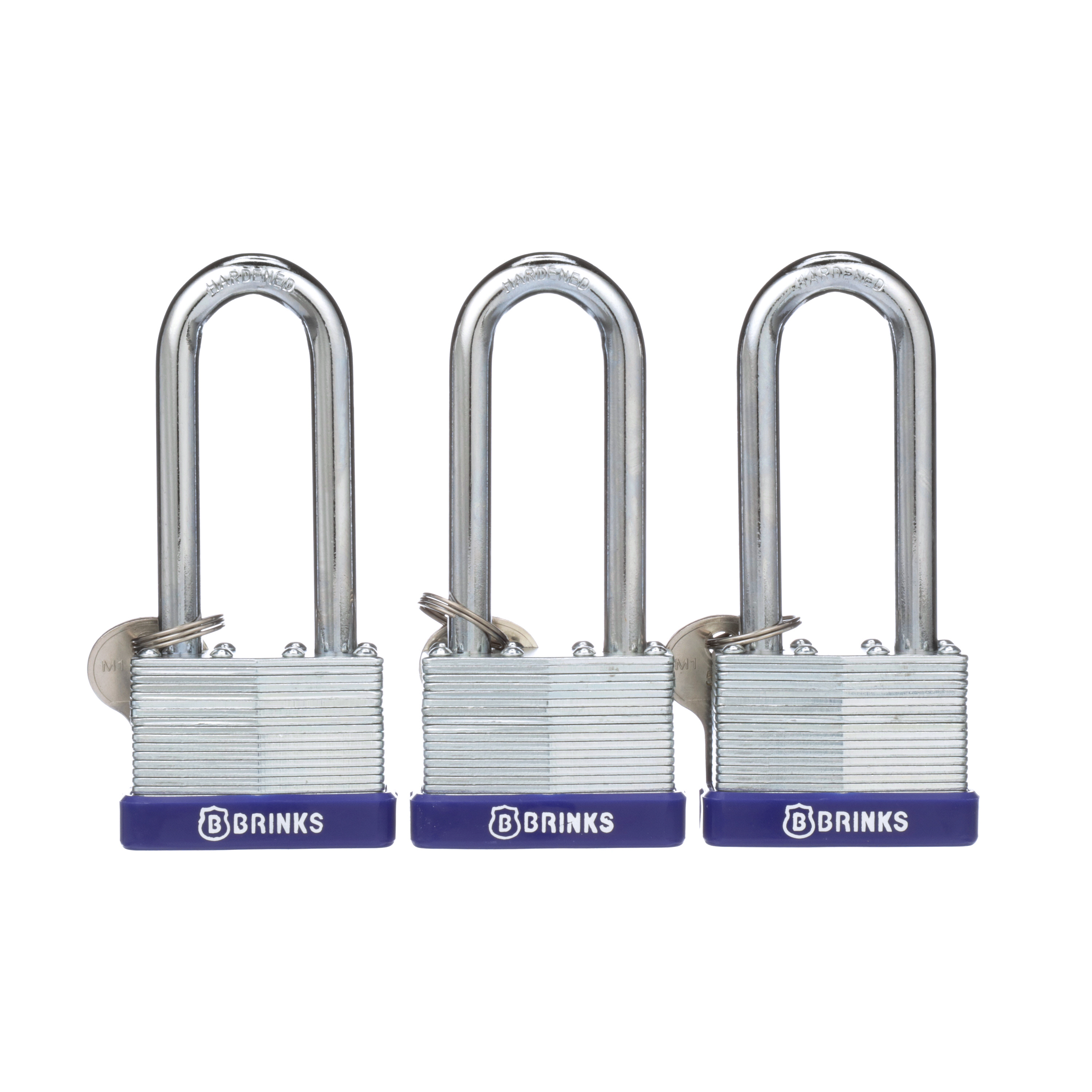 Brink's 44mm Long Shackle Laminated Steel Padlock, 3-Pack by Hampton Products Int'l Corp.