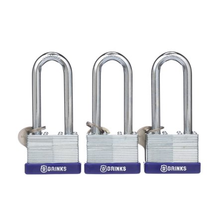 Brink's 44mm Long Shackle Laminated Steel Padlock, (0.5 L Shackle Padlock)
